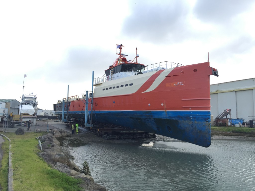 Oceania Marine, North Shipyard - Damen Axe Bow on Haulout Cradle