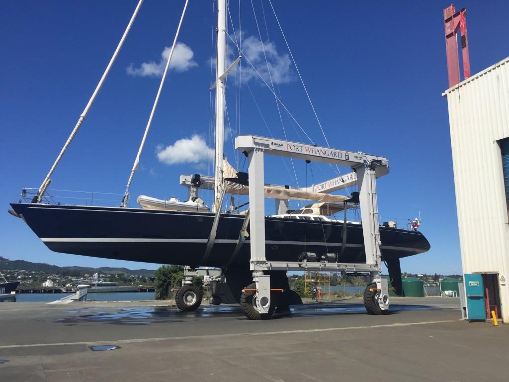 Port Whangarei Marine Centre 100 Tonne Travelift lifts 32M Sail Yacht