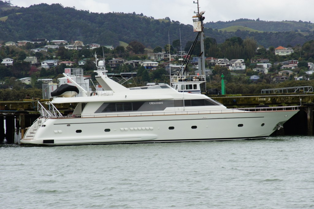 25M Motor Yacht 'Crescendo' on floating dock at Port Whangarei Marine Centre Awaiting Sea Trials
