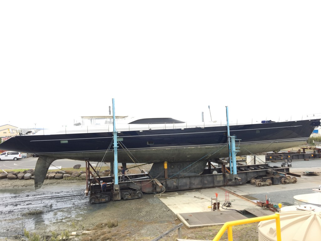 43M Superyacht Bella Ragazza hauls out at Oceania Marine's North Shipyard, Port Whangarei, New Zealand for 4 month refit
